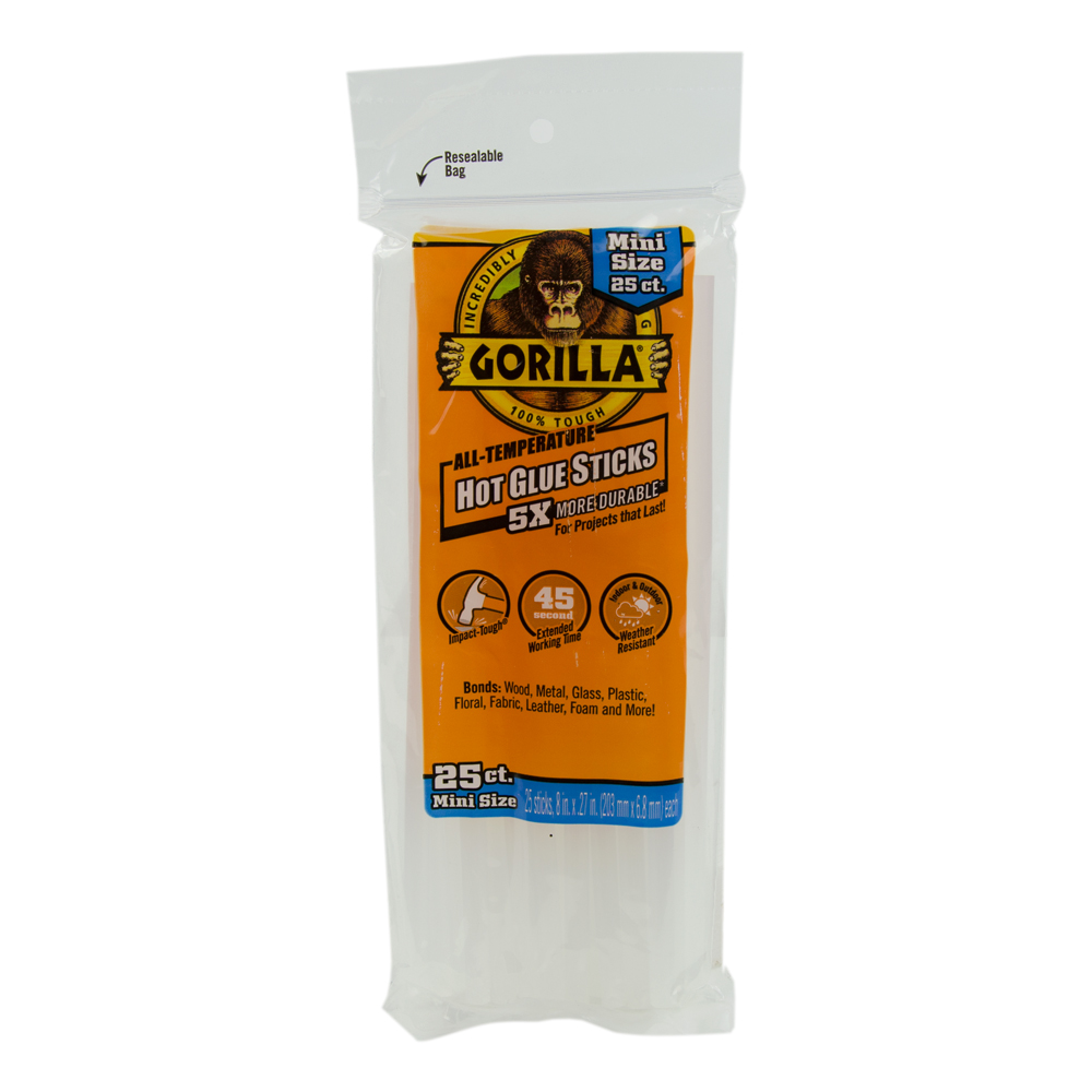 "8"" Mini Gorilla Hot Glue Sticks- Bag of 25"
