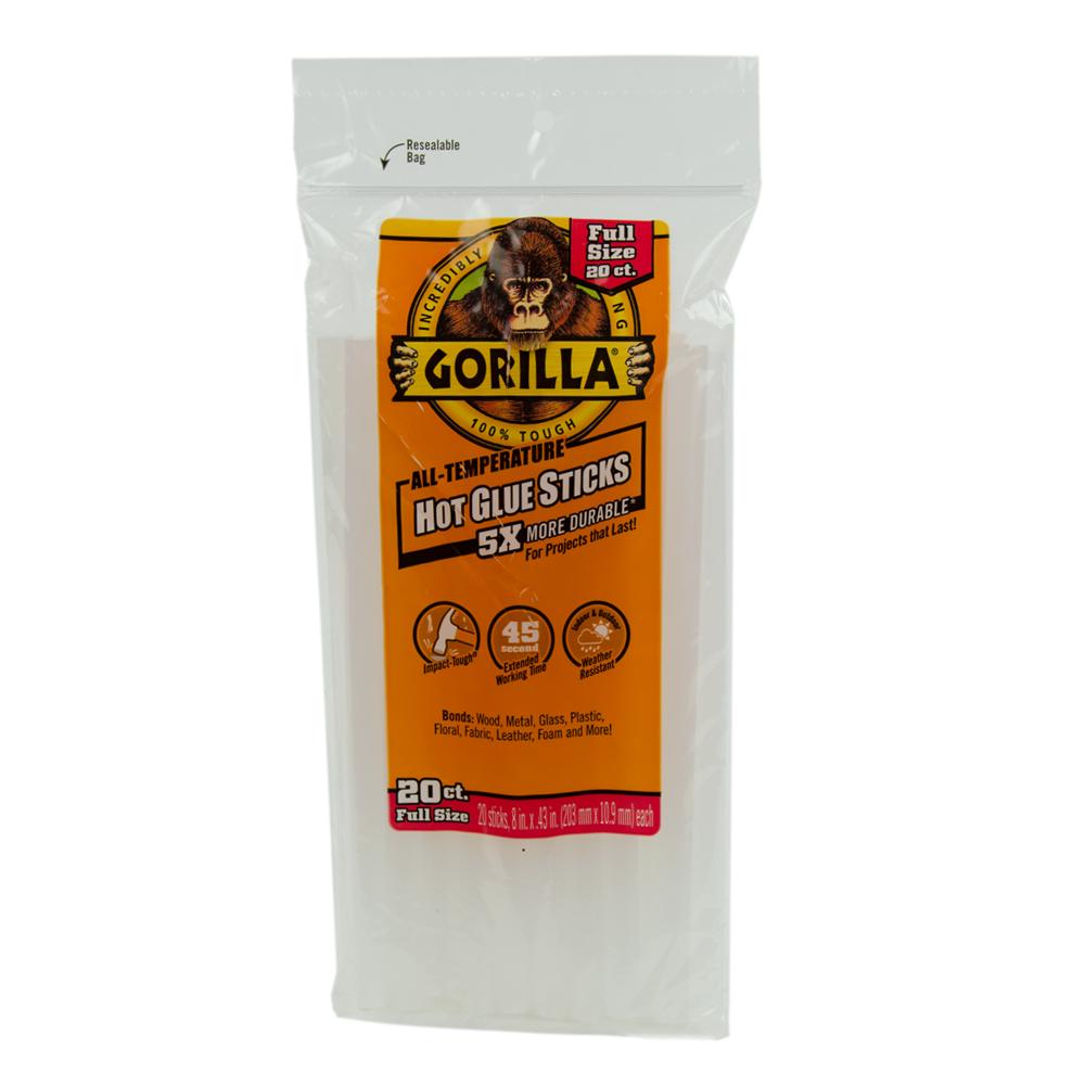 "8"" Full Gorilla Hot Glue Sticks- Bag of 20"