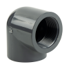 "1-1/2"" Schedule 80 Gray PVC Threaded 90° Elbow"