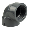"2-1/2"" Schedule 80 Gray PVC Threaded 90° Elbow"