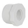 "1-1/2"" MNPT x 3/4"" FNPT Schedule 40 White PVC Threaded Reducing Bushing"