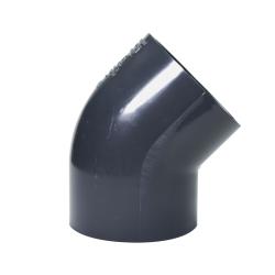 "6"" Schedule 40 Gray PVC Socket 45° Elbow"