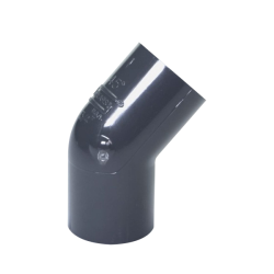 "3/4"" Schedule 40 Gray PVC Socket 45° Elbow"