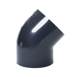 "4"" Schedule 40 Gray PVC Socket 45° Elbow"