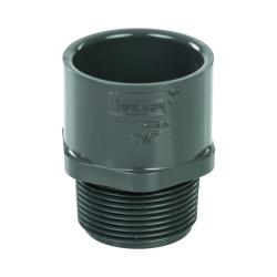 "1-1/4"" Schedule 40 Gray PVC MIPT x Socket Male Adapter"