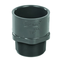 "1-1/2"" Schedule 40 Gray PVC MIPT x Socket Male Adapter"