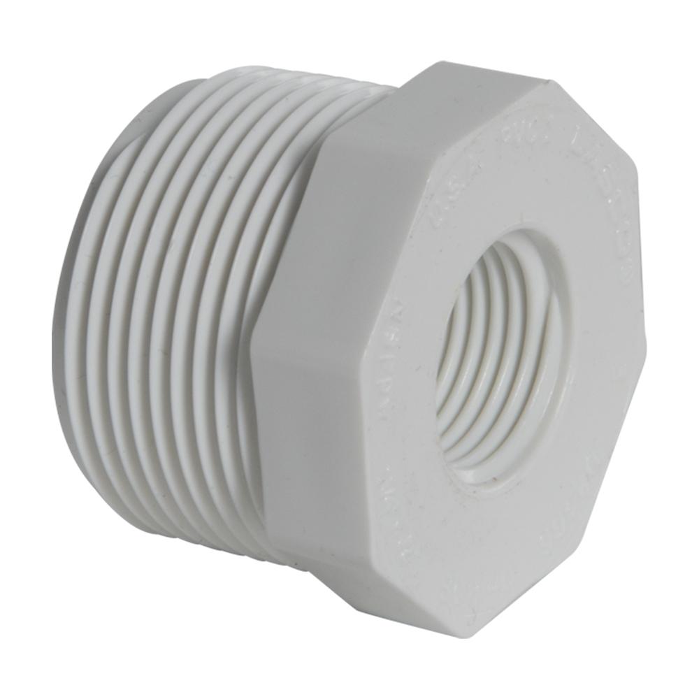 "1-1/4"" MNPT x 1/2"" FNPT Schedule 40 White PVC Threaded Reducing Bushing"