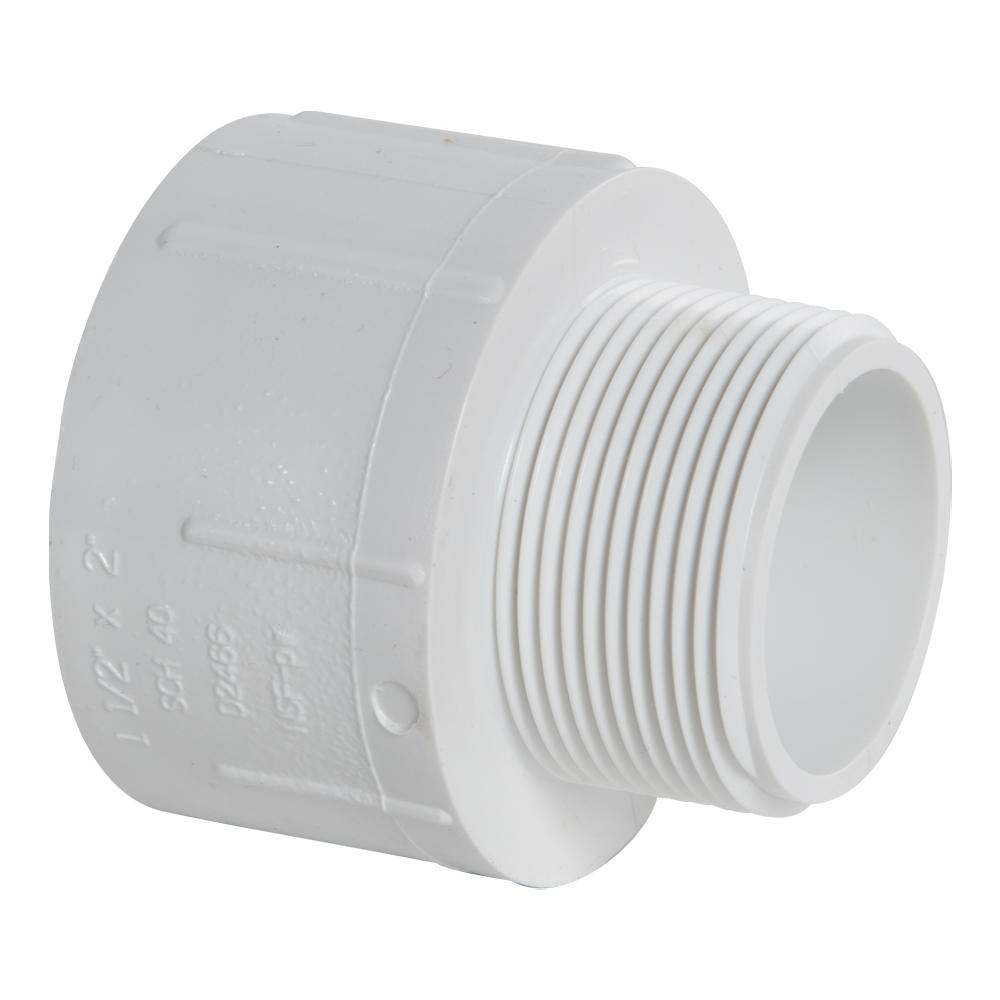 "1-1/2"" MNPT x 2"" FNPT Schedule 40 White PVC Threaded Reducing Bushing"
