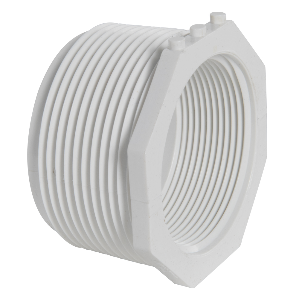 "2-1/2"" MNPT x 2"" FNPT Schedule 40 White PVC Threaded Reducing Bushing"