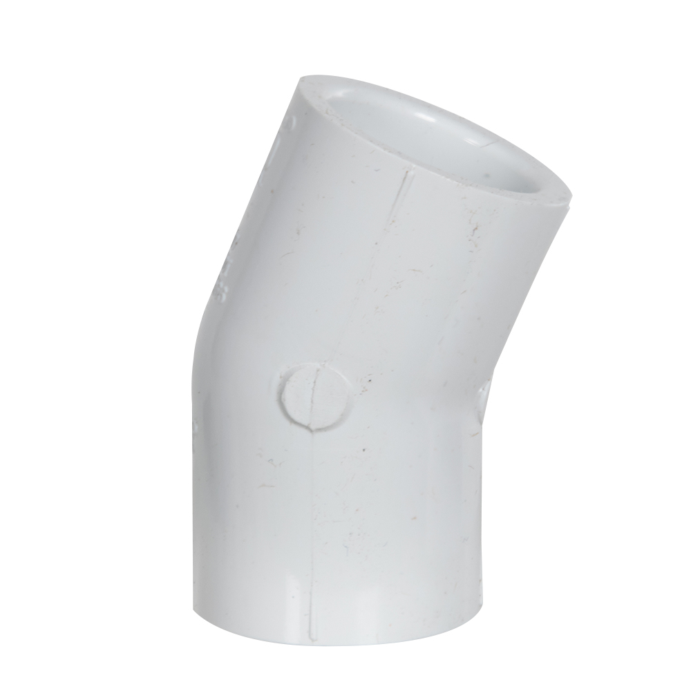 "3"" Schedule 40 White PVC 22-1/2° Slip x Slip Elbow"