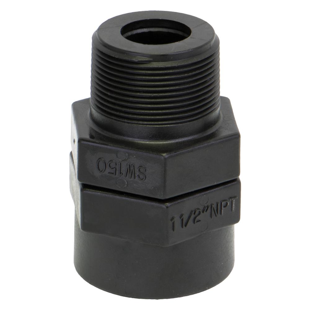 "1-1/2"" MNPT x 1-1/2"" FNPT Polypropylene Swivel Adapter"