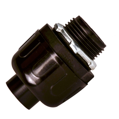 Sealproof® Black Nonmetallic Liquid-Tight Straight Conduit Connectors
