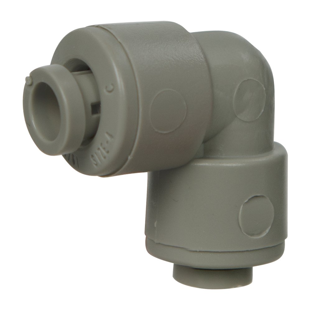 "1/4"" Tube x 1/4"" Tube Gray Acetal Union Elbow"