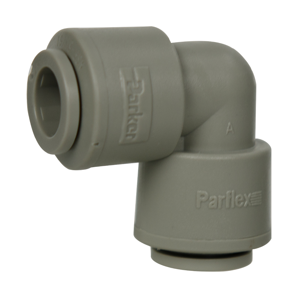 "3/8"" Tube x 3/8"" Tube Gray Acetal Union Elbow"