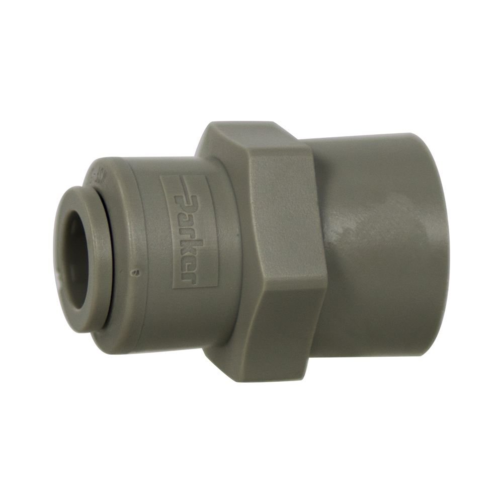 "3/8"" Tube x 3/8"" NPTF Gray Acetal Female Connector"