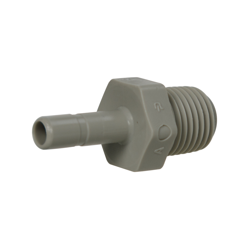 "1/4"" Tube x 1/4"" NPTF Gray Acetal Male Stem Adapter"