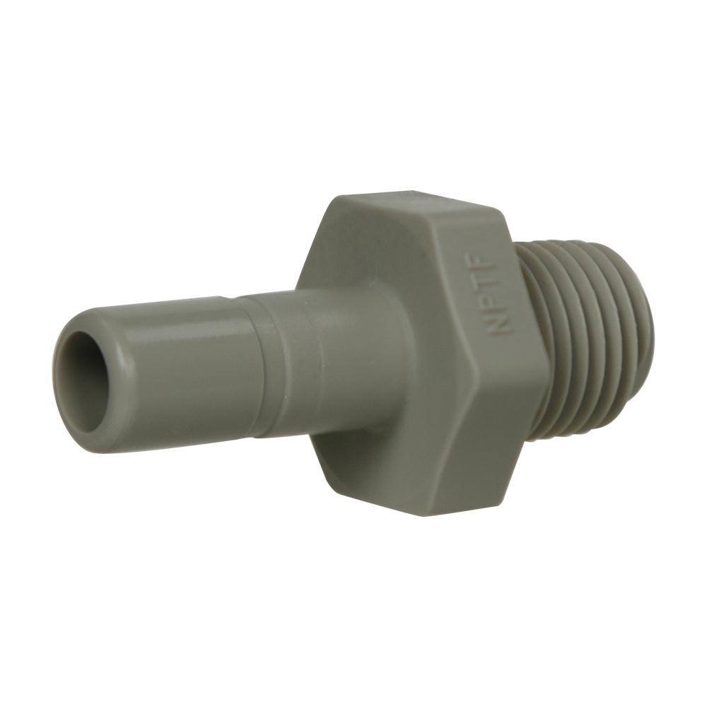 "3/8"" Tube x 1/4"" NPTF Gray Acetal Male Stem Adapter"