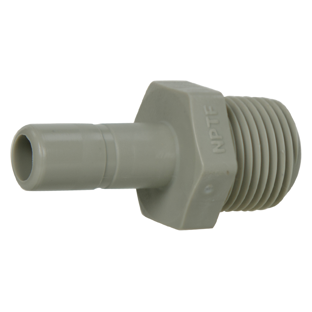 "3/8"" Tube x 3/8"" NPTF Gray Acetal Male Stem Adapter"