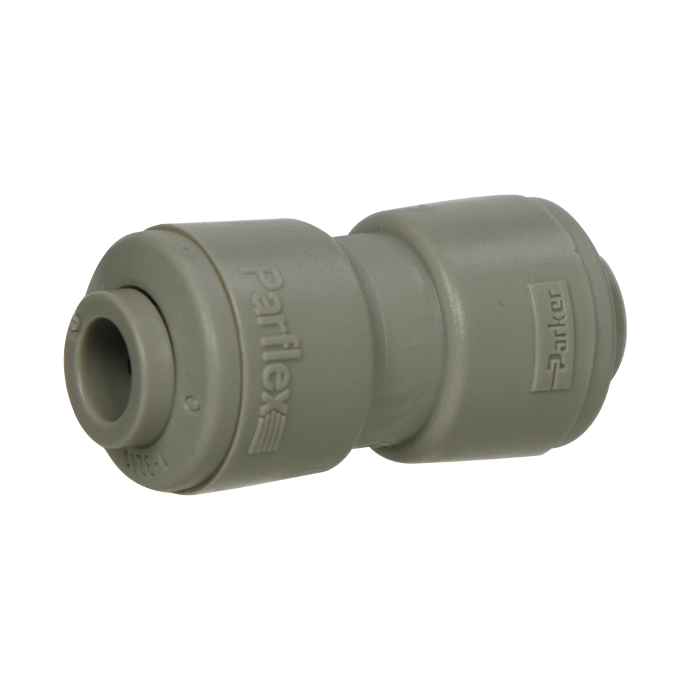 "1/4"" Tube x 1/4"" Tube Gray Acetal Union Connector"