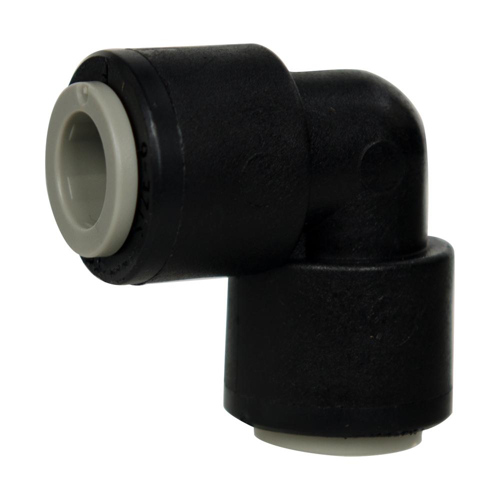 """3/8"""" Tube x 3/8"""" Tube Black Polypropylene Union Elbow"""