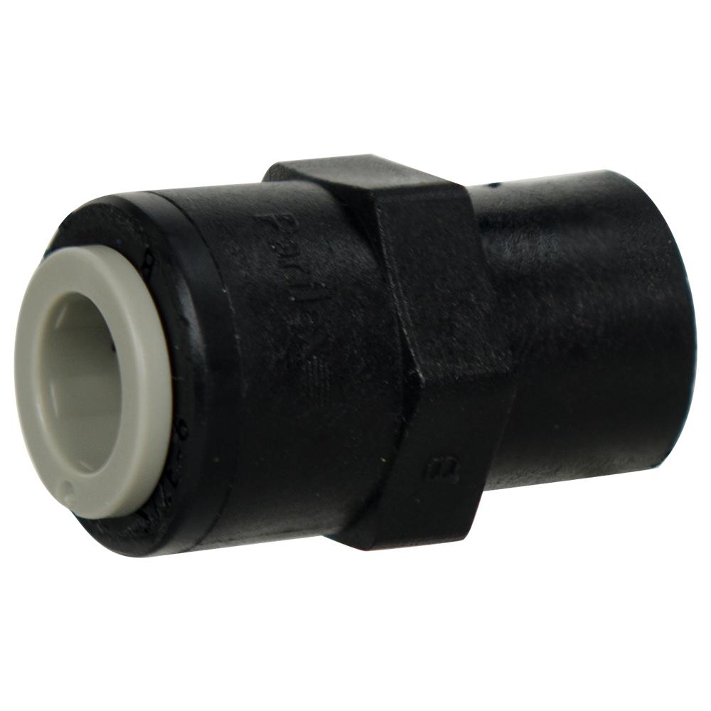 "3/8"" Tube x 1/4"" NPTF Black Polypropylene Female Connector"