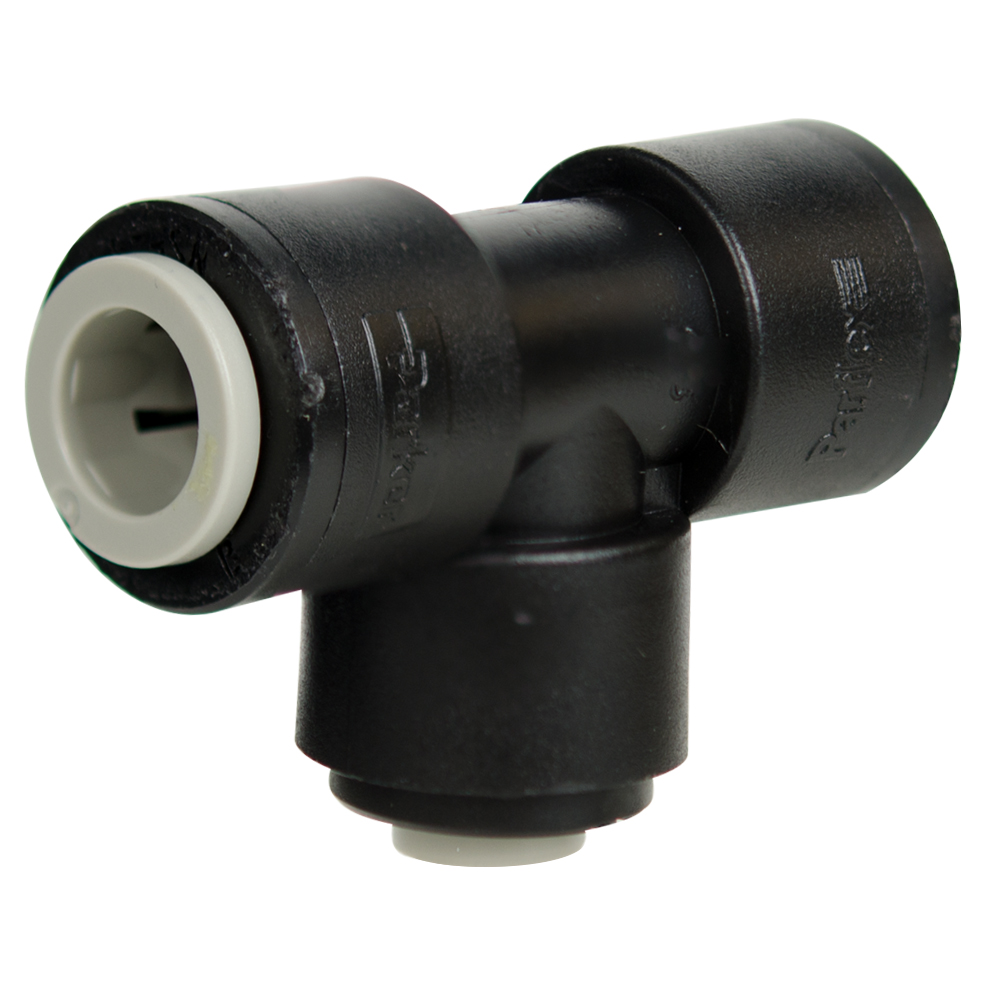 "3/8"" Tube Run x 1/4"" Tube Black Polypropylene Stem Tee"