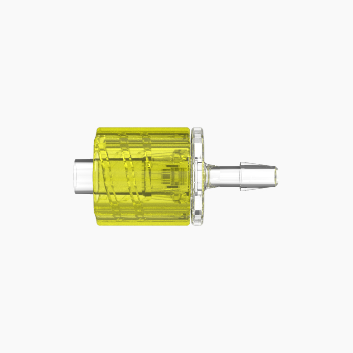 "3/32"" Hose Barb Male Rotating Lock & Nut Assemblies - Yellow"