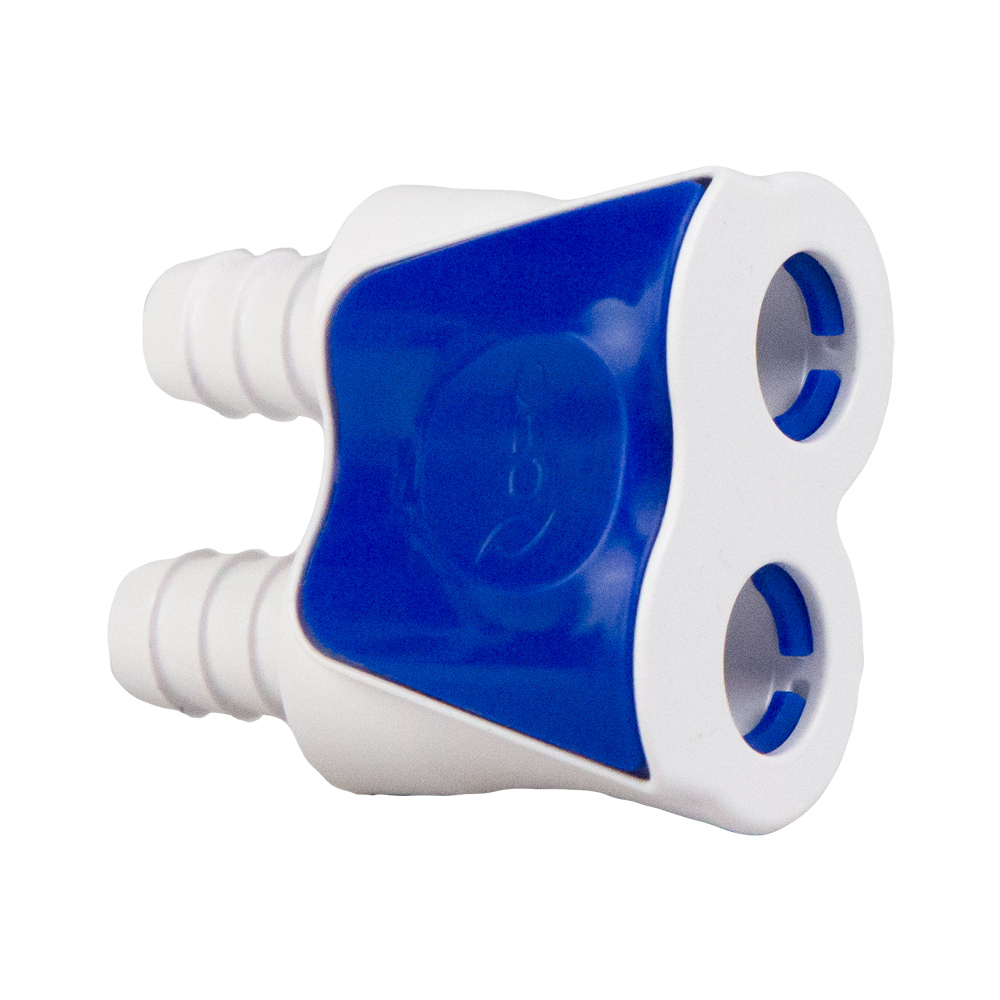 "3/8"" White Valved Hose Barb In-line Coupling Body"