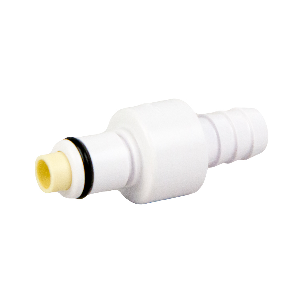 "3/8"" White Valved Hose Barb In-line Coupling Insert (Body Sold Separately)"