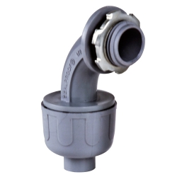 Sealproof® Gray Nonmetallic Liquid-Tight 90° Conduit Connector