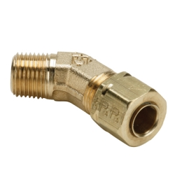 "1/4"" Tube x 1/4"" MPT Brass Compress-Align® 45° Elbow"