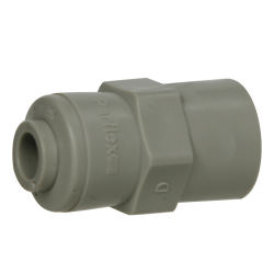 "1/4"" Tube x 1/4"" NPTF Gray Acetal Female Connector"