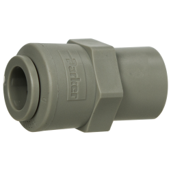 "3/8"" Tube x 1/4"" NPTF Gray Acetal Female Connector"