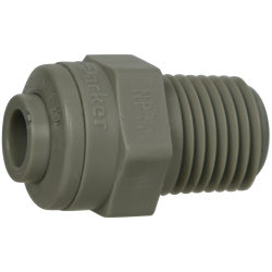 "1/4"" Tube x 1/4"" NPTF Gray Acetal Male Connector"