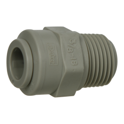"3/8"" Tube x 3/8"" NPTF Gray Acetal Male Connector"