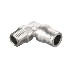 "1/4"" Tube x 1/4"" NPT Nickel-Plated Brass Male Elbow"