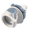 "3/8"" Hose Barb HFC 35 Series Polysulfone Bulkhead Panel Mount Coupling Body - Shutoff (Insert Sold Separately)"