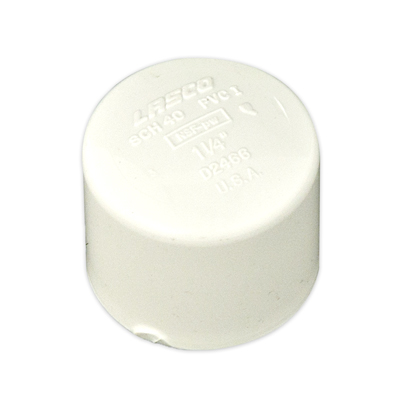 "1-1/4"" Schedule 40 White PVC Socket Cap"