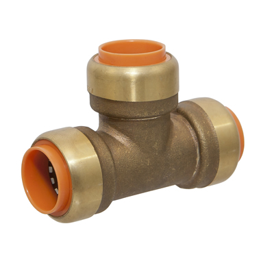 "3/4"" x 3/4"" x 1/2"" Push-to-Connect Lead-Free Brass Push Tee"