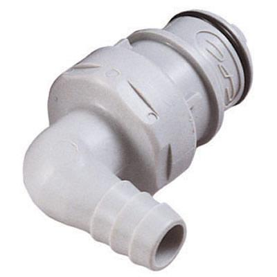"3/8"" Hose Barb HFC 12 Series Polypropylene Elbow Coupling Insert - Shutoff"