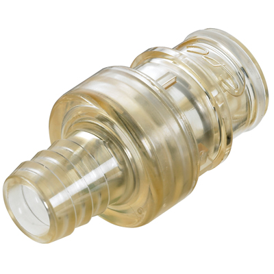 "1/4"" In-Line Hose Barb HFC 39 Series Polysulfone Coupling Insert - Shutoff"