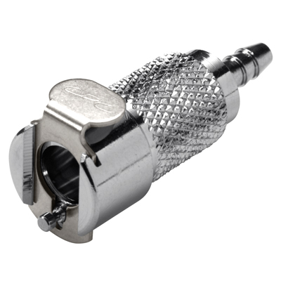 """1/4"""" In-Line Hose Barb MC Series Chrome Plated Brass Body - Shutoff (Insert Sold Separately)"""