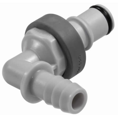 """3/8"""" ID In-Line Hose Barb PP Non-Spill Elbow Insert"""