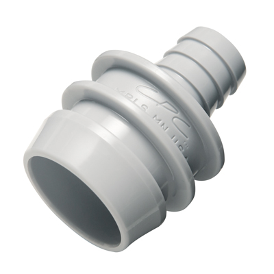"1/2"" Hose Barb Non-valved Acetal Clean In Place Adapter - 1.15""Dia. X 1.56"" L"