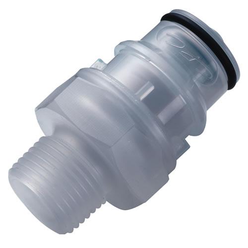 "3/8"" MNPT CQH Series Polypropylene In-Line Coupling Insert - Shutoff (Body Sold Separately)"