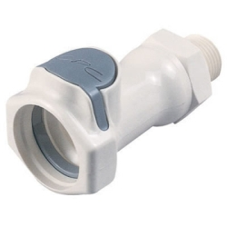 "3/8"" NPT HFC 35 Series Polysulfone Male Coupling Body - Shutoff"