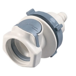 "1/2"" Hose Barb HFC 35 Series Polysulfone Bulkhead Panel Mount Coupling Body - Straight Thru (Insert Sold Separately)"