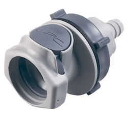 "3/8"" In-Line Hose Barb HFC 12 Series Polypropylene Bulkhead Panel Mount Coupling Body - Shutoff"