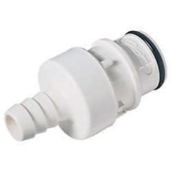 "1/2"" In-Line Hose Barb HFC 35 Series Polysulfone Coupling Insert - Shutoff (Body Sold Separately)"