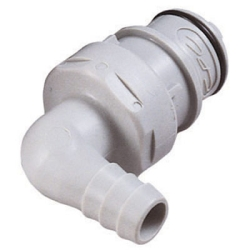 "3/8"" Hose Barb HFC 12 Series Polypropylene Elbow Coupling Insert - Straight Thru"